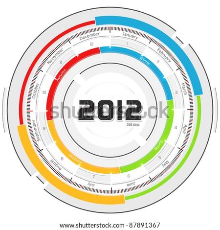 2012 circular calendar - futuristic concept design - stock photo