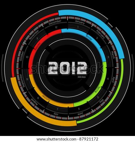 2012 circular calendar - futuristic concept design - black background - stock photo