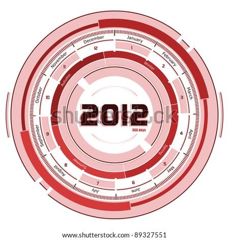 2012 circular calendar - futuristic concept design - reddish on white background - stock photo