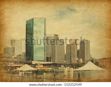 Circular Quay in retro style.  Circular Quay is a location in Sydney, New South Wales, Australia on the northern edge of the Sydney central business district on Sydney Cove - stock photo