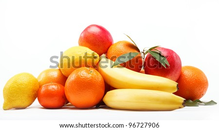 citrus fruits isolated on a white background.