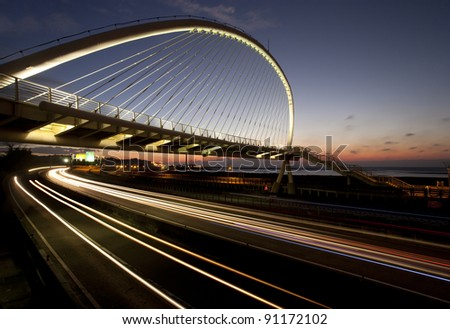 city highway at night with light trails in Taiwan. - stock photo