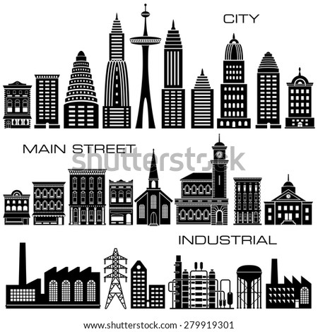24 City, Main Street and Industrial Buildings icon set - stock photo