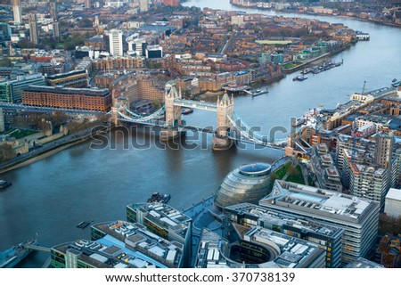 City of London panorama, office and banking district arial view - stock photo