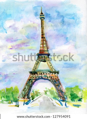 City of Paris in watercolor. Painting of The Eiffel Tower - stock photo