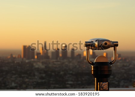 Cityscape of Los Angeles, California - selective focus. View from the Griffith Park Observatory. - stock photo