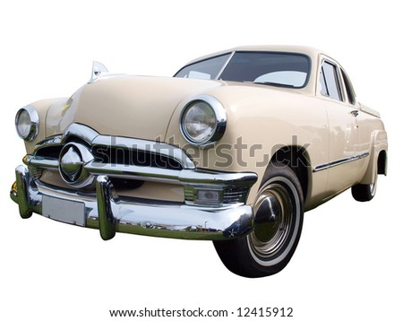 1950 Classic Car  isolated with clipping path - stock photo