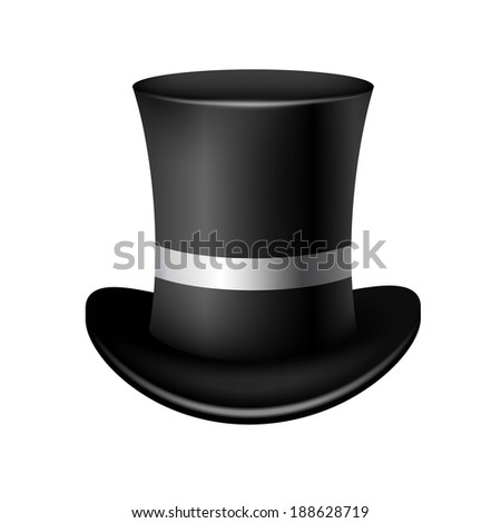 Classic cylinder hat on a white background - stock photo