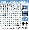 100 classic signs. raster version - stock photo