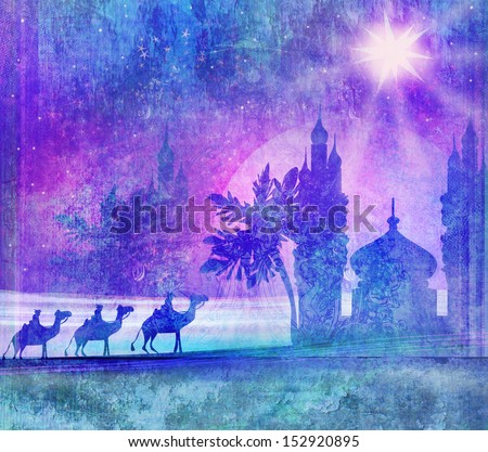 Classic three magic scene and shining star of Bethlehem  - stock photo