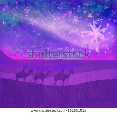 Classic three wise men scene and shining star of Bethlehem  - stock photo