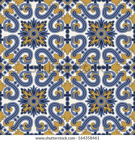 classic vintage seamless pattern in blue and yellow
