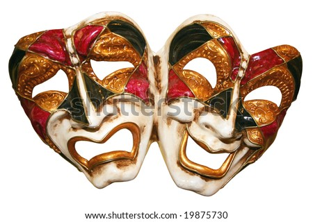 Classical theatrical  mask on a white background - stock photo