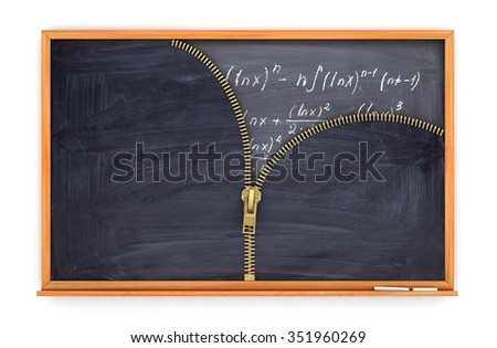 classroom blackboard open by zipper and blackboard with mathematical formulas inside, knowlage concept - stock photo