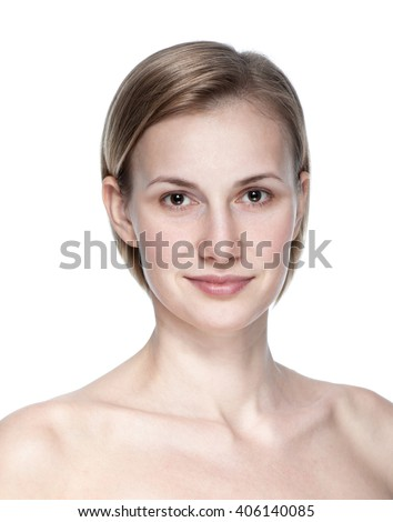 clean beauty portrait of  blond young woman isolated on white background