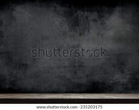 cleaned chalkboard with wooden background - stock photo