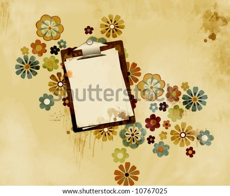 Clipboard with paper attached lying on a grungy stained surface