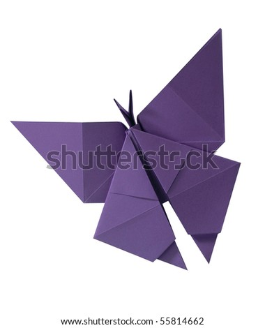 clipping path Paper folded into a butterfly. - stock photo
