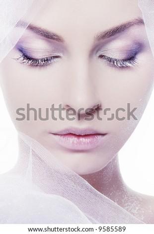 close-uo studio portrait of pretty fashionable girl - stock photo