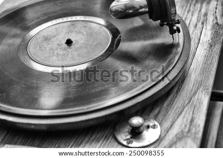 Close up at vintage gramophone. playing old song - stock photo
