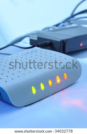 Close-up modem - stock photo
