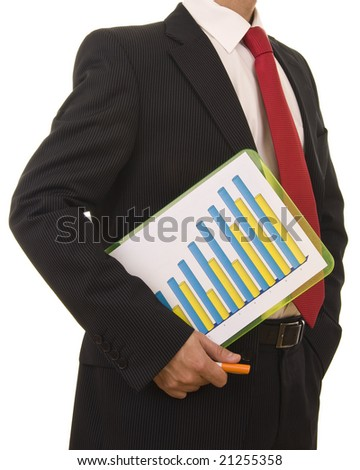 Close-up od a businessman holding a financial report - stock photo