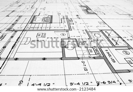 close up of blue prints from angle - stock photo