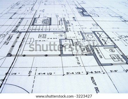 close up of blue prints from angle