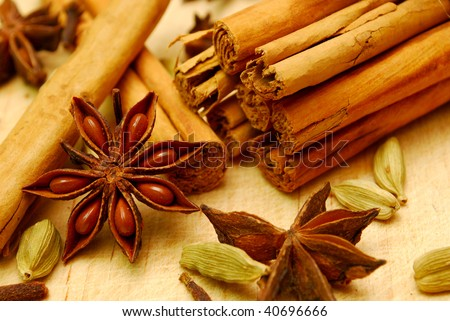 close-up of cinnamon and spices - stock photo