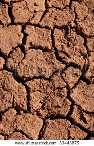Close up of cracked and dry mud, Utah desert. - stock photo