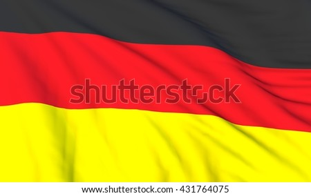 Close up of 3D render of German flag on wind
