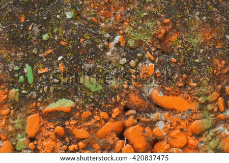 Close up of decorative  textured   mossed surface with light green and white   paint  Solid,rough, material made from a mixture of broken stone or gravel, sand and cement Abstract grungy background  - stock photo