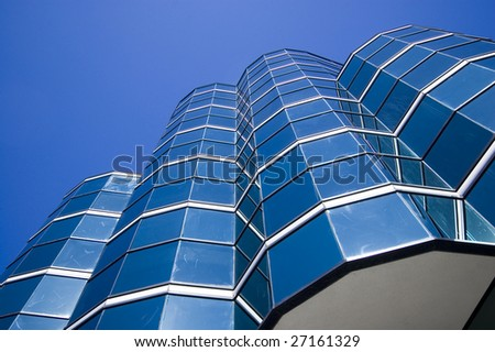 close up of  modern skyscraper /  abstract building background - stock photo
