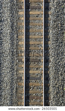 close up of  railway track /  industrial background - stock photo