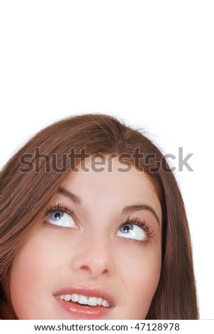 Close-up of the beautiful young girl expressing joy - stock photo