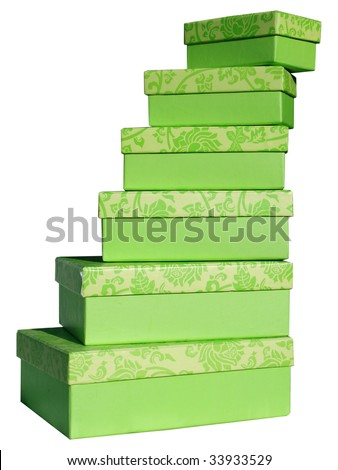 close-up of three cardboard boxes againt white background - stock photo