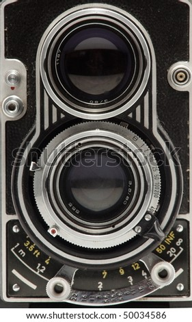 close-up of tlr photo camera - stock photo