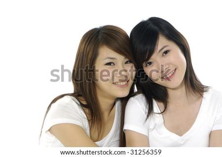 Close up portrait of smiling Friends - stock photo