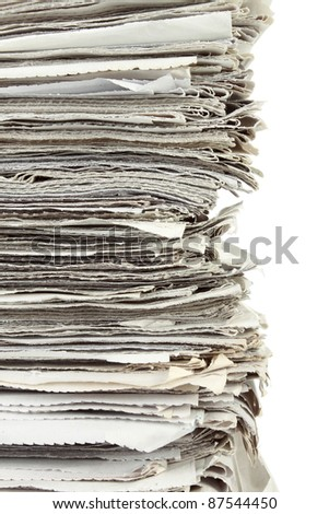 Close up Stack of newspaper on white background - stock photo
