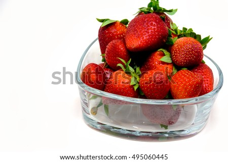Close up strawberries isolated over the white background / Selective focus