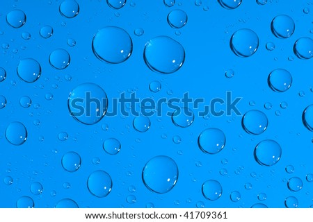 close-up water-drops on blue background