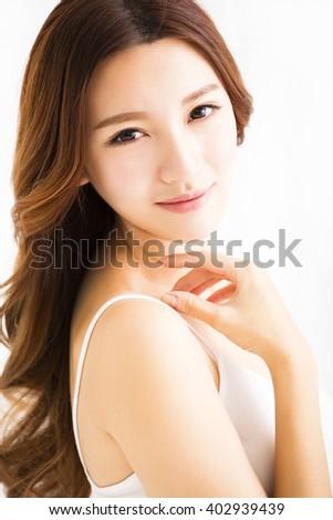 closeup beautiful young asian  woman   - stock photo