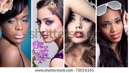 4 closeup beauty images collage of women of different ethnicities (asian/indian, caucasian, african, other) with creative colorful makeups. See full size images in my portfolio. - stock photo