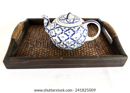 closeup Cup of tea and teapot on wooden tray
