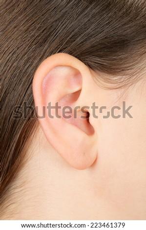Closeup of a girl ear - stock photo