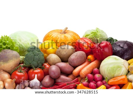 Closeup of fresh vegetables, isolated on the white background, clipping path included.