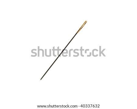 Closeup of isolated needle on white background - stock photo