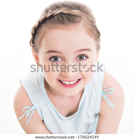 Closeup portrait of a cute happy little girl - isolated on white. - stock photo