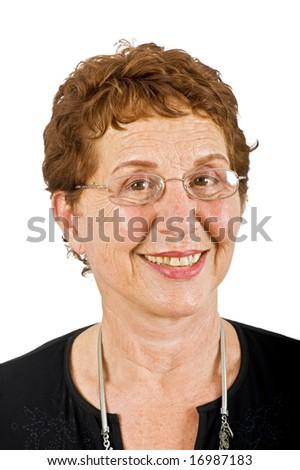 closeup  portrait off a senior businesswoman isolated on white - stock photo