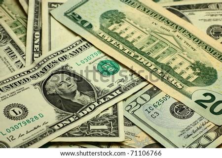 Closeup view of pack dollar banknotes - stock photo